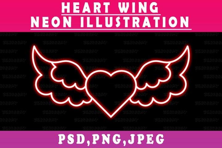 neon heart wing lines valentine illumination