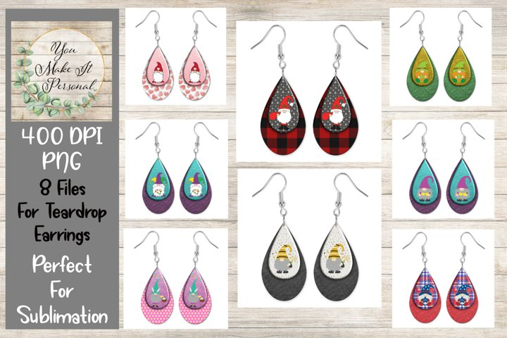 Holiday Gnomes, Sublimation Teardrop Earring Bundle