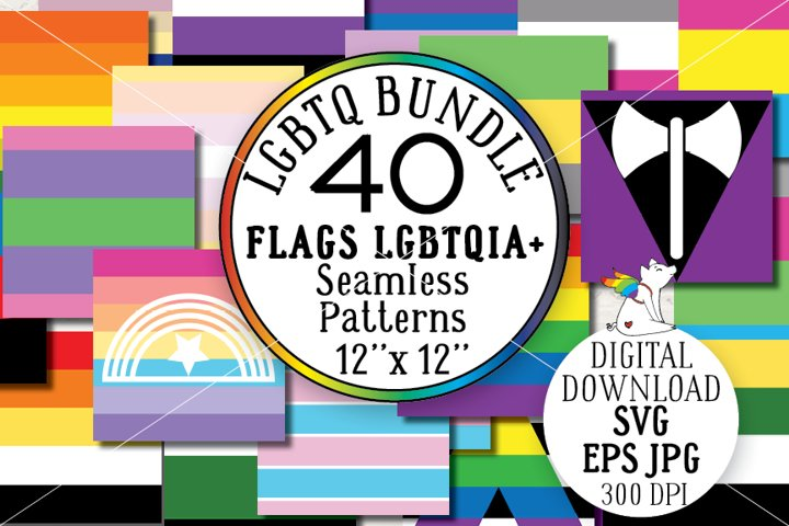 Bundle 40 Lgbtq Flags Seamless Pattern, SVG, EPS, JPG