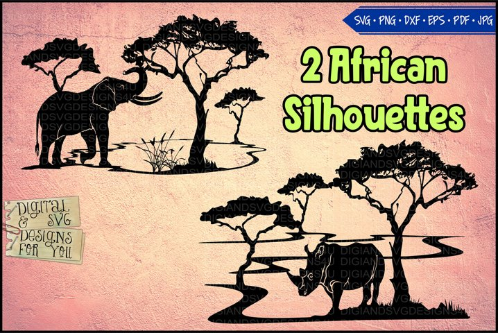 African Silhouettes | Elephant silhouette | Rhino silhouette