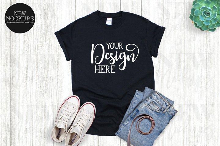 Gildan 500 Black unisex T-Shirt Mockup