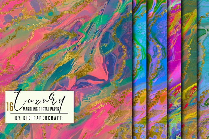 Luxury Digital Background, Colorful marbling paper, Neon ink
