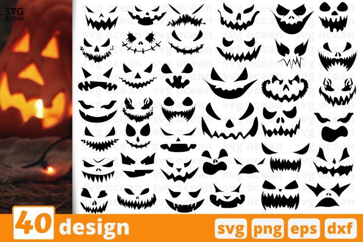 40 SCARY PUMPKINS FACES SVG BUNDLE | Halloween cricut | Fall