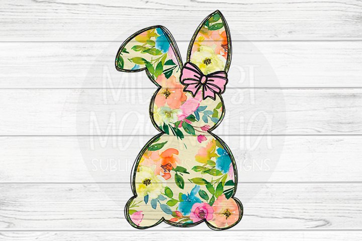 Floral Bunny with Pink Bow