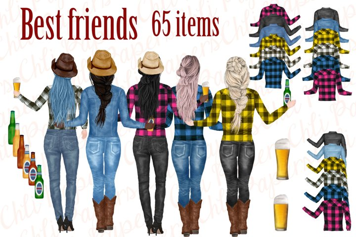 Best Friends Clipart, Cowgirls clipart, Western Girls