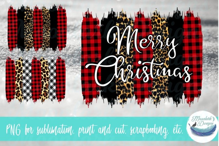 Buffalo plaid leopard gingham brush stroke background PNG