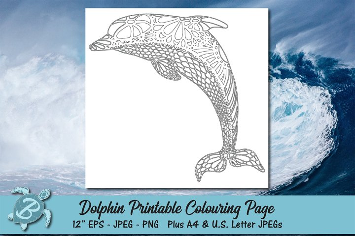 Dolphin Printable Colouring Page
