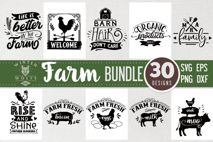 Farm Bundle 30 designs SVG EPS DXF PNG