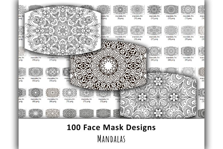 100 Mandala Face Mask Designs. Sublimation design. Coloring