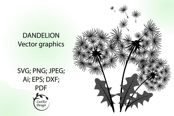 Dandelion SVG, PNG, JPG, EPS, PDF, Ai. Flowers clipart