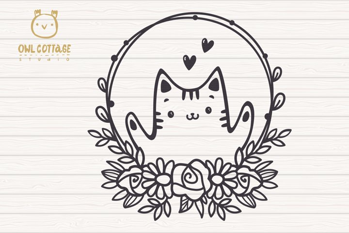 Valentine Cat svg , Kitten with floral decor Svg, Valentine' example 1