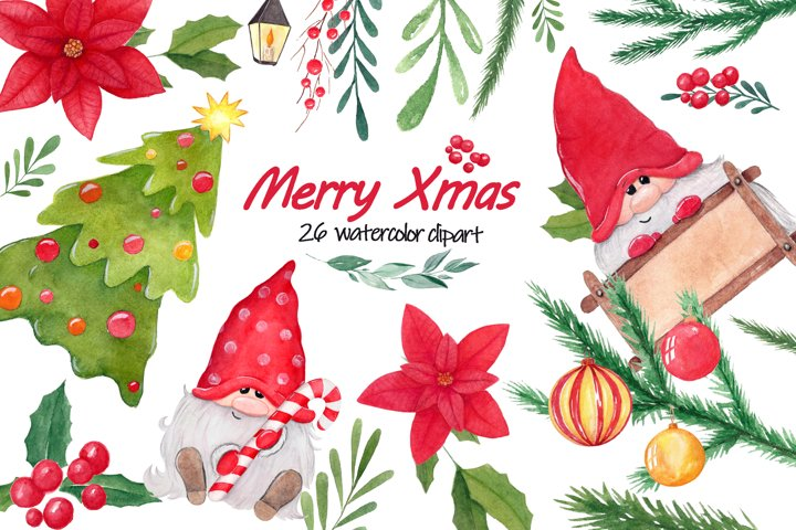 Watercolor Merry Xmas png clipart set. Holiday gnome