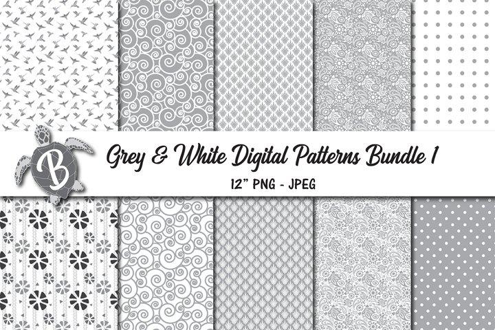 Grey and White Digital Patterns Bundle 1