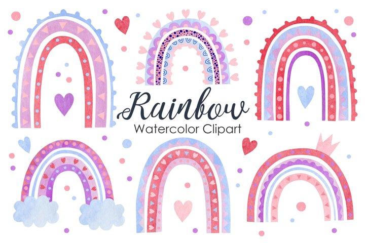 Watercolor rainbows clipart.