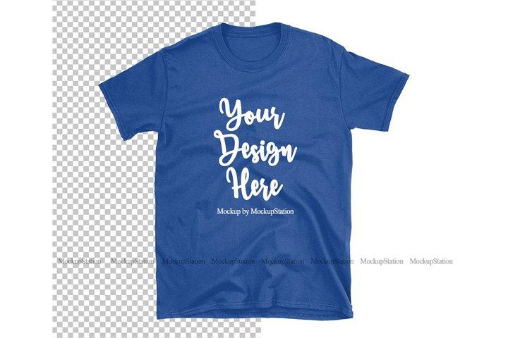 Royal Blue Gildan TShirt Mockup Transparent Background
