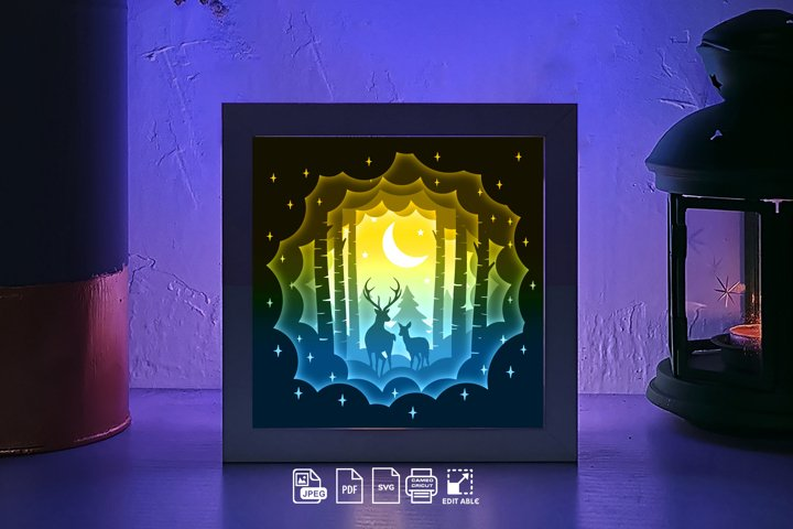 #216 Deer Spirit 3D paper lightbox Shadow box, die cut