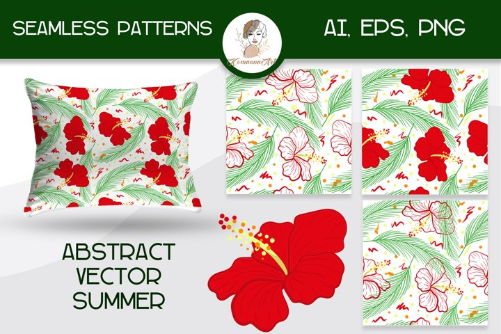 Abstract tropical vector seamless patterns with hibiscus