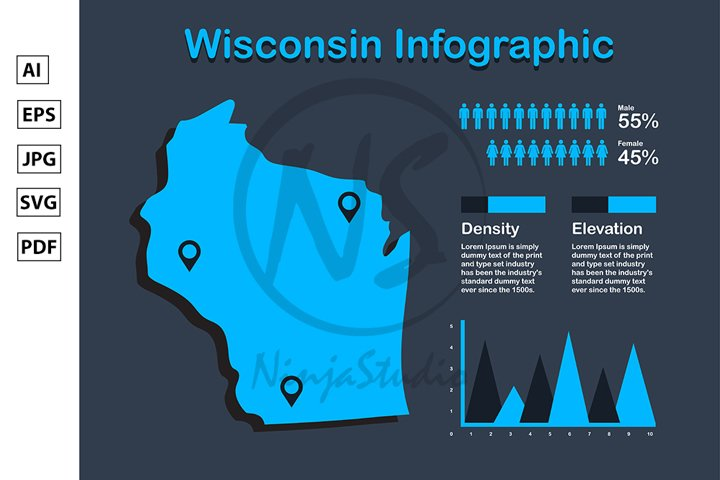 Wisconsin State USA Map with Set of Infographic Elements