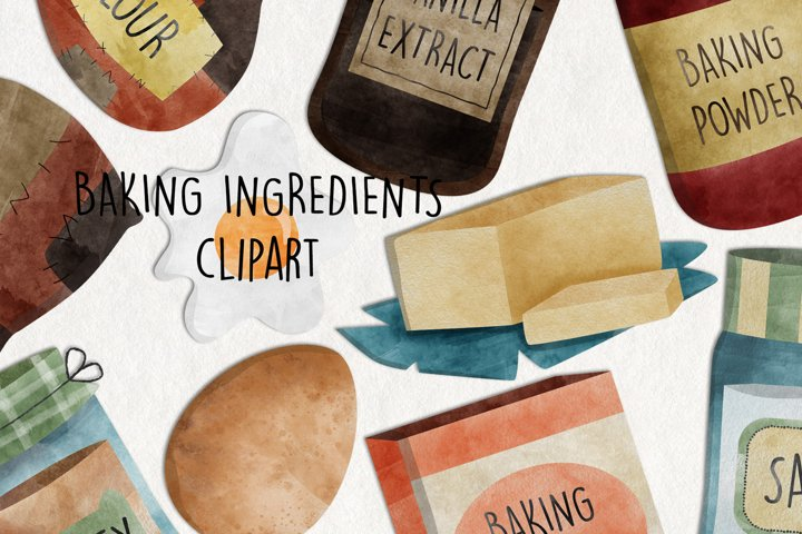 Watercolor Baking Ingredients Clip Art