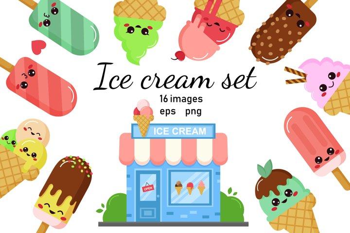 Kawaii ice creams with faces and ice cream shop