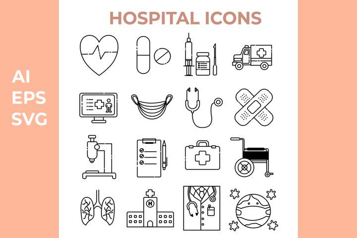 Hospital Illustration Icons