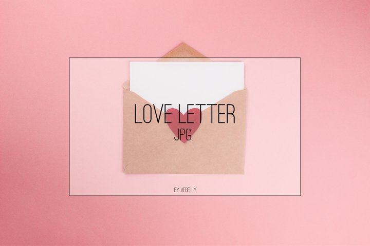 Love letter with white paper sheet in craft paper envelope