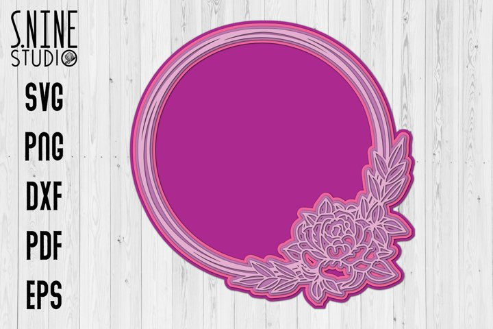 Circle Floral Monogram 3D Cut Files Wedding SVG
