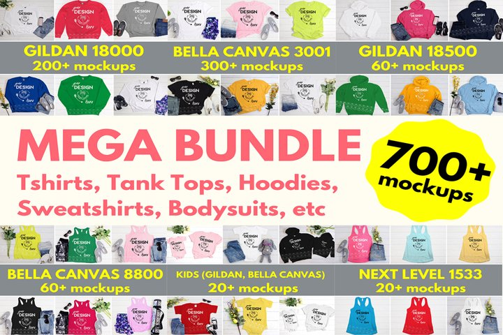 Tshirt Mockup Bundle - Bella Canvas, Gildan, Next Level