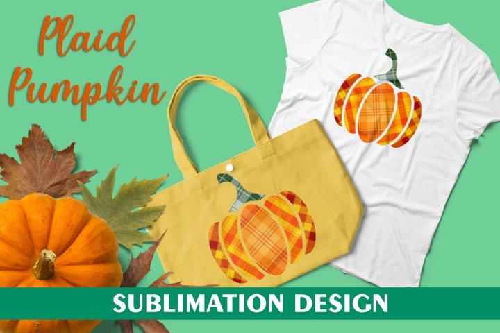 Plaid Pumpkin for Sublimation Design, Pumpkin Sublimation