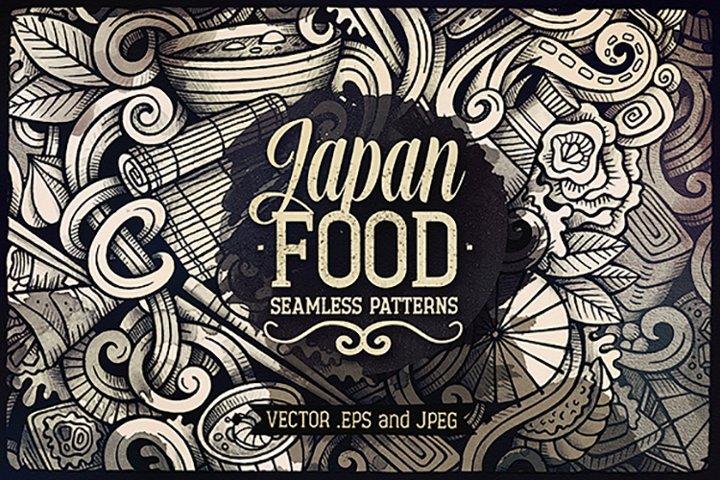 Japan Cuisine Graphics Doodle Patterns