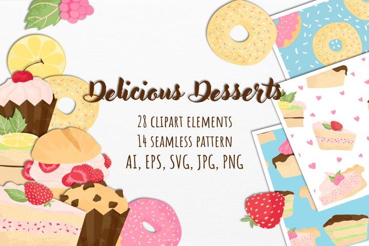 Cute Desserts Bundle Cartoons flat style AI/EPS/SVG/PNG/JPG