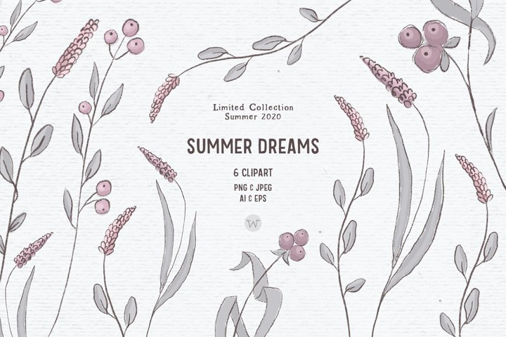 Hand-drawn wildflower clipart | Pink flowers boho clipart