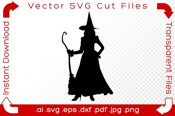 Witch SVG Black Silhouette Shape Halloween Vector Cut Files