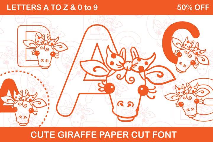 Alpha Giraffe Cute Paper cut Style Coloring Book Font