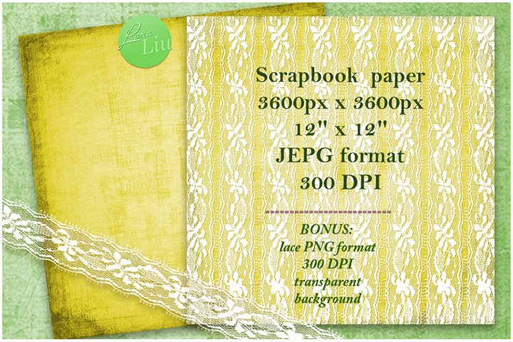 Yellow set paper with lace