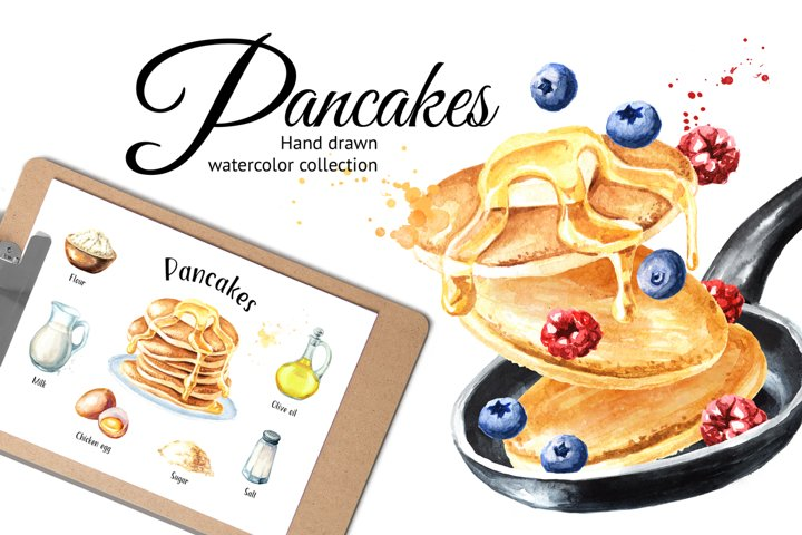 Pancakes. Watercolor collection