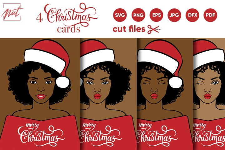 Black woman svg, christmas svg cut files. christmas card svg