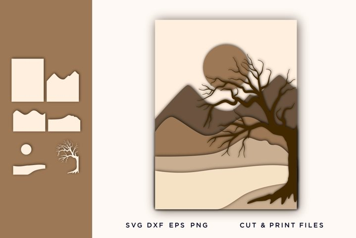 Wall art 3D, Pine Tree, File for Cricut, Layered Mountain