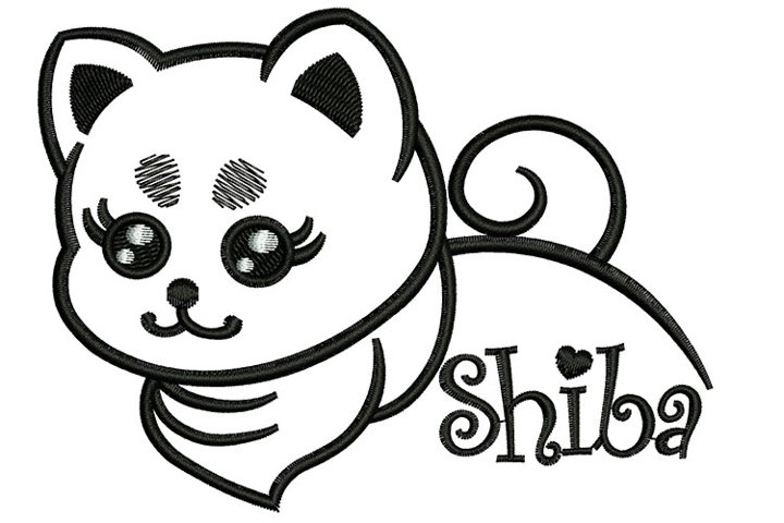Puppy Shiba machine embroidery designs