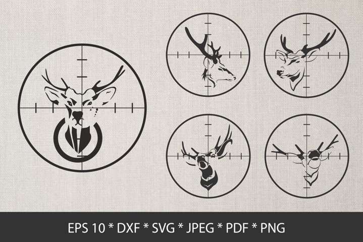 Deer Silhouette in Scope SVG. Deer Hunting.