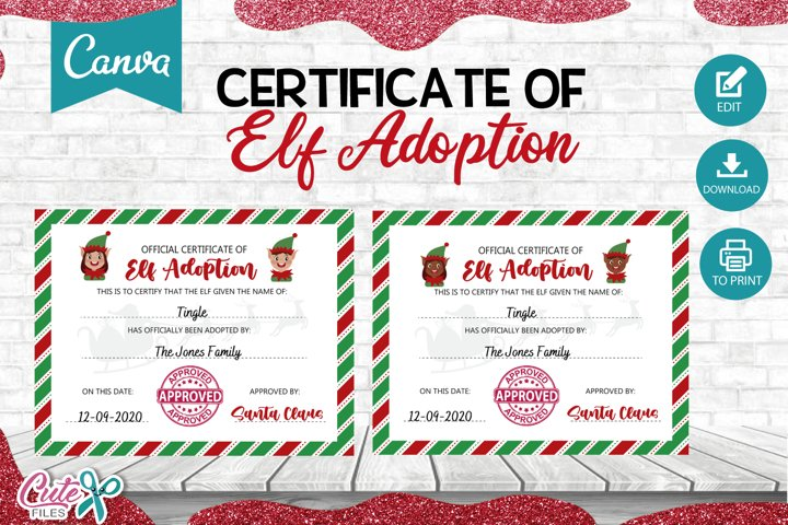 Certificate of Elf adoption Template editable with Canva