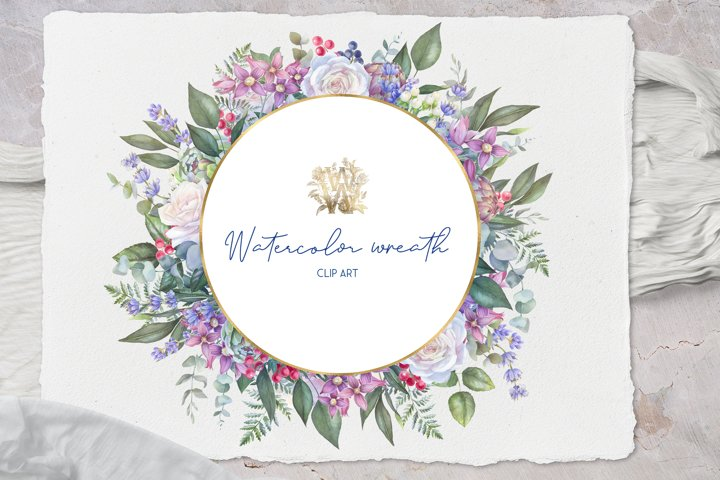 Watercolor wedding wreath clip art, png roses frame