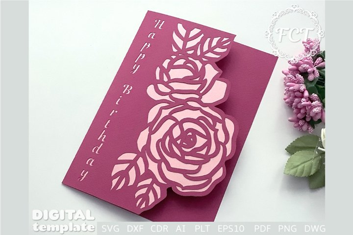 Happy Birthday Card SVG Roses Anniversary card Template