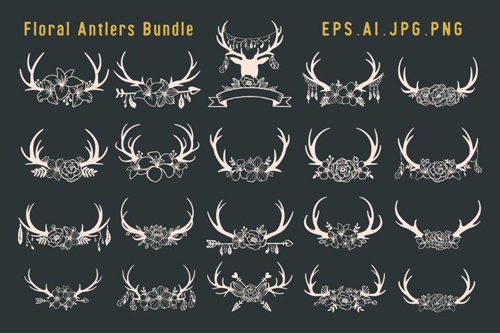 Bundle Set of Deer antlers floral