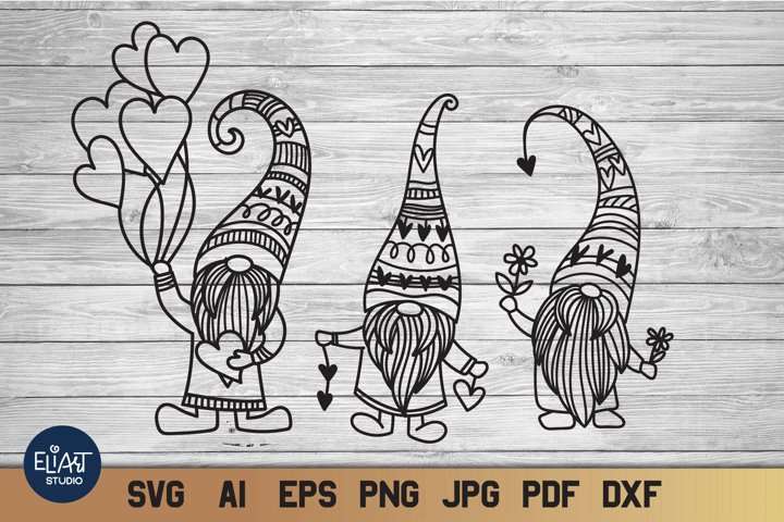 Valentines SVG | Gnomes SVG with Hearts and Flowers