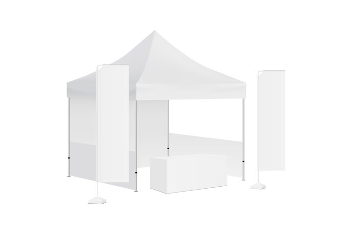 Tent canopy, rectangular flags and demonstration table