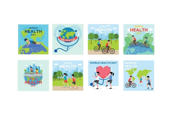 Bundle World Health Day Flat Design