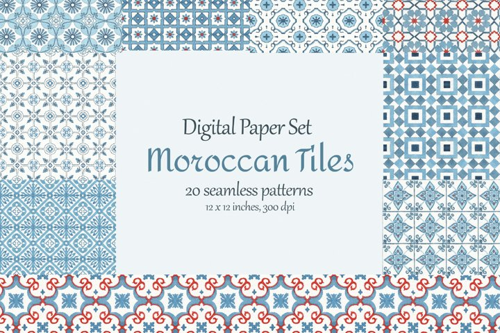 Watercolor Moroccan Tiles Seamless Pattern