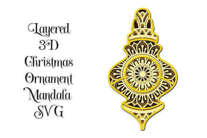 Christmas Ornament Mandala 3D Layered SVG - 5 Layers V1