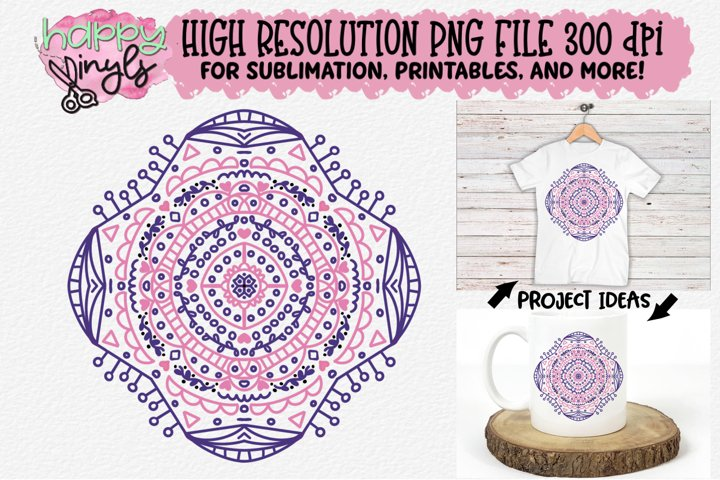 Mandala Pink and Purple Sublimation Design - A High Res PNG